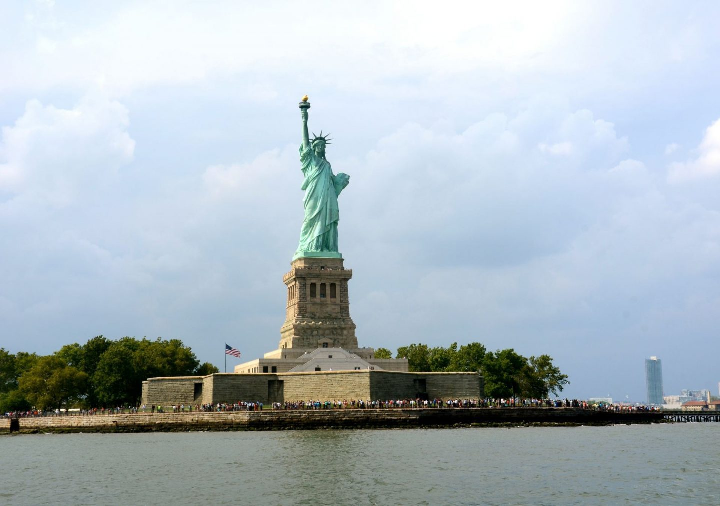View of the Statue of Liberty from the New York water taxi.