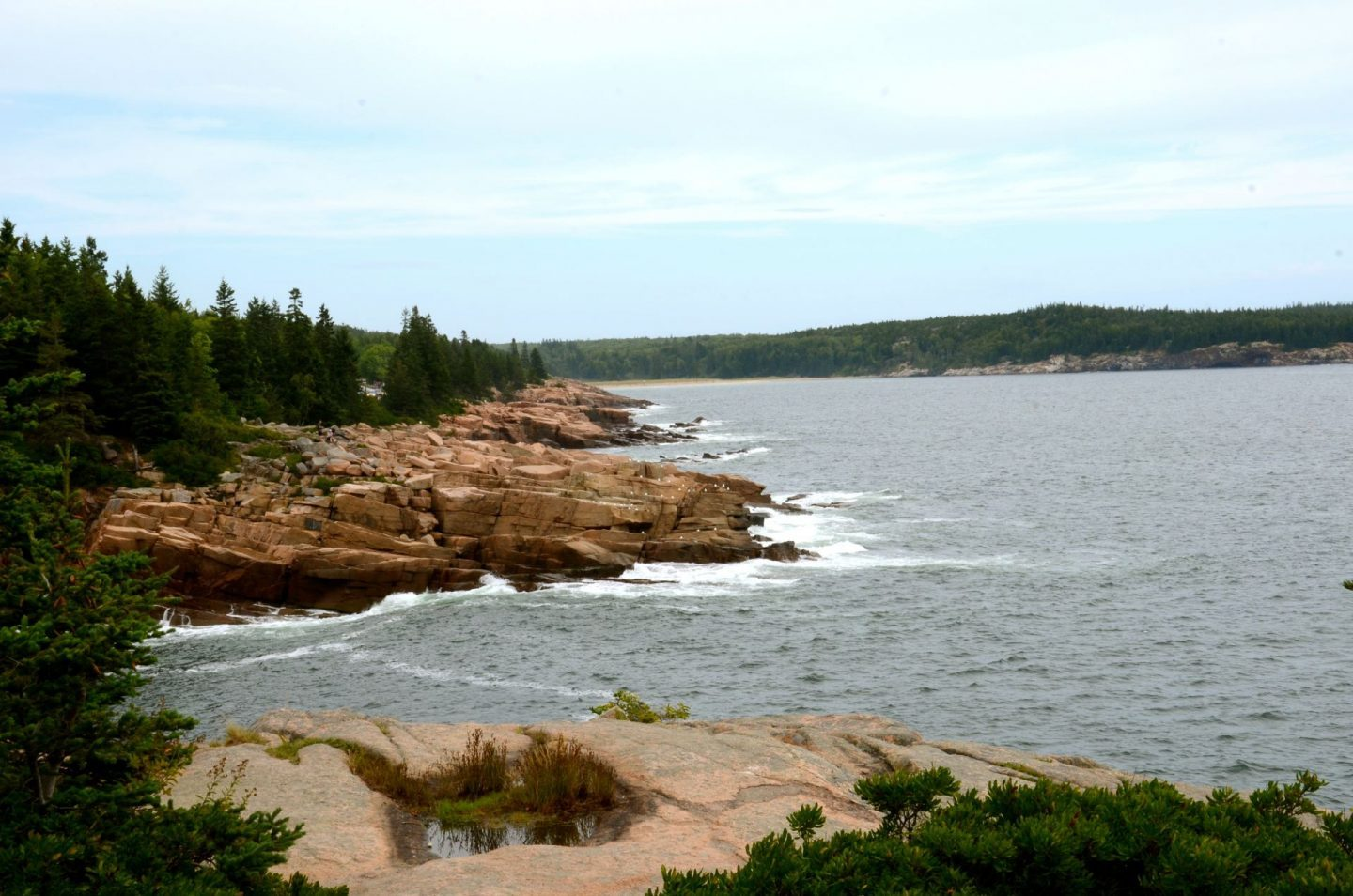 Exploring the rugged coastline on Ocean Path at Acadia National Park