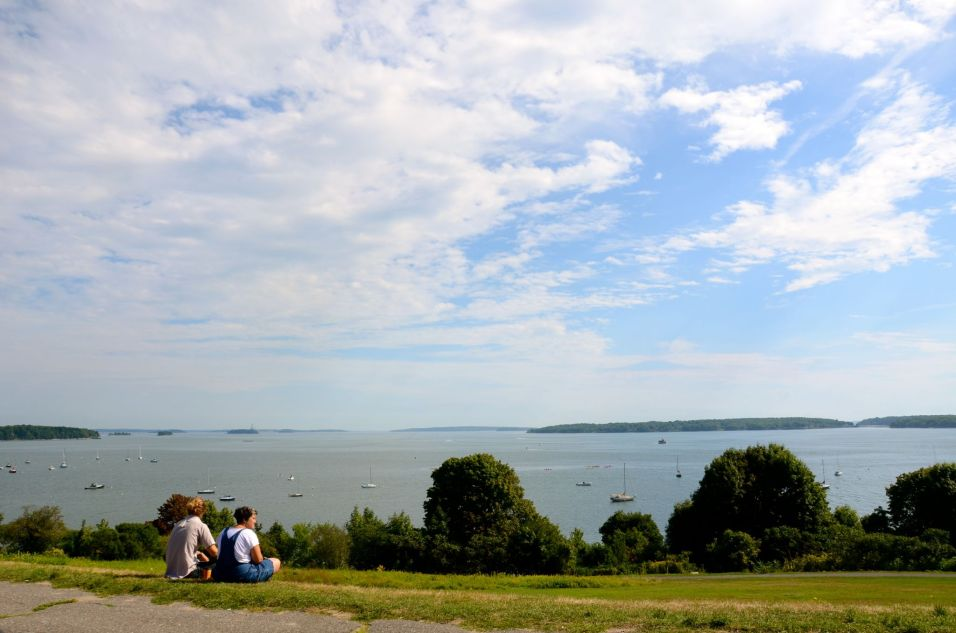 Looking out over the sea from the park in Portland Maine