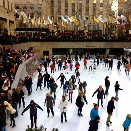 Skating at the ice rink at Rockefeller Center during Christmas in New York.