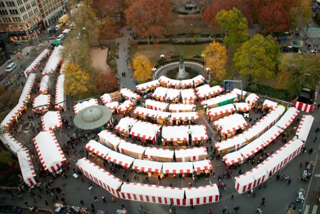 View of the Union Square holiday market during Christmas in New York.