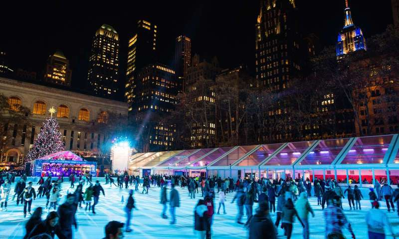 Bryant Park during Christmas in New York.