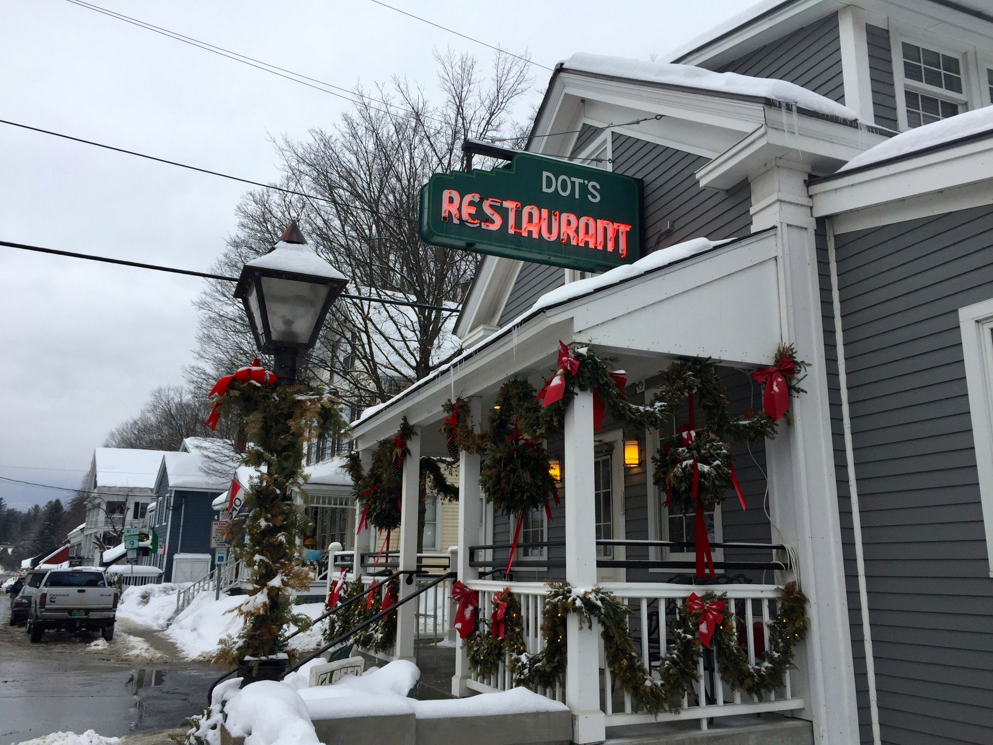 Restaurant with Christmas decor in Wilmington Vermont