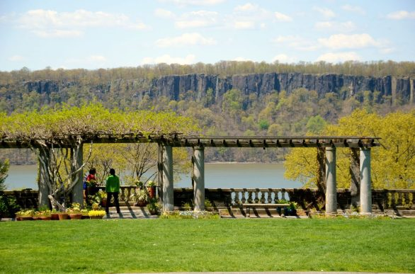 Beautiful Wave Hill overlooking the Hudson River in the Bronx, New York.