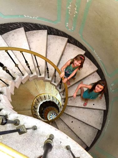 family activities in Miami, discovering spiral staircases at Vizcaya Museum in Coconut Grove Miami.