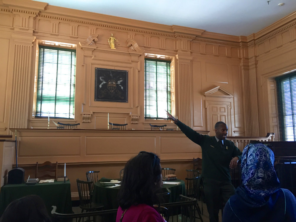 Taking a tour of Independence Hall in Philadelphia.