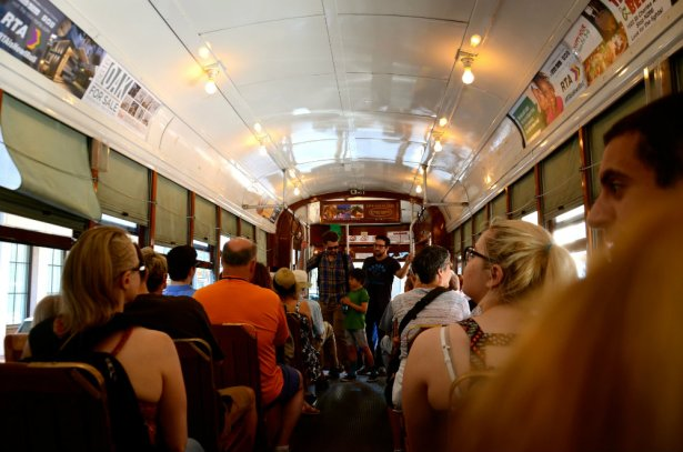 Taking a spin on the streetcar in New Orleans.