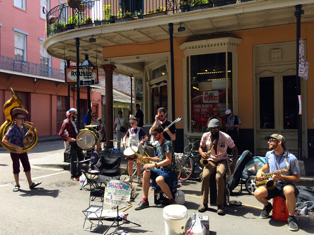 Street musicians in the French Quarter in New Orleans.