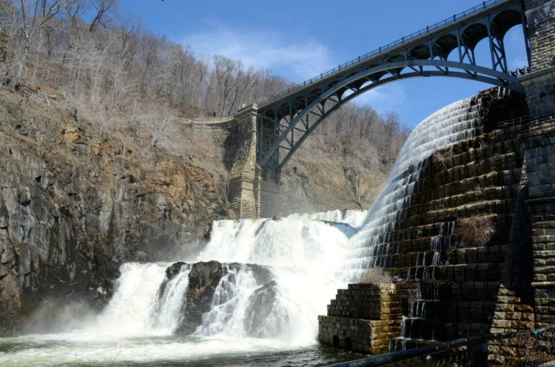 Looking at the waterfall at Croton Dam in Westchester, New York.