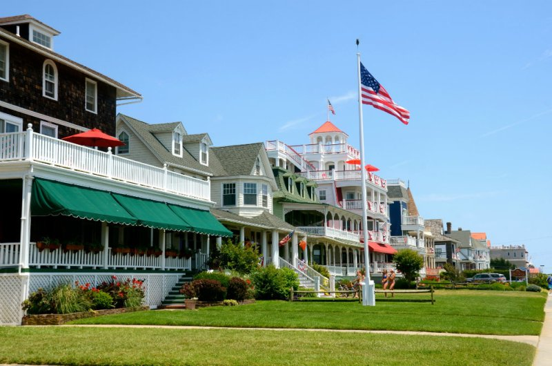 Walking along the ocean front houses in Cape May New Jersey.