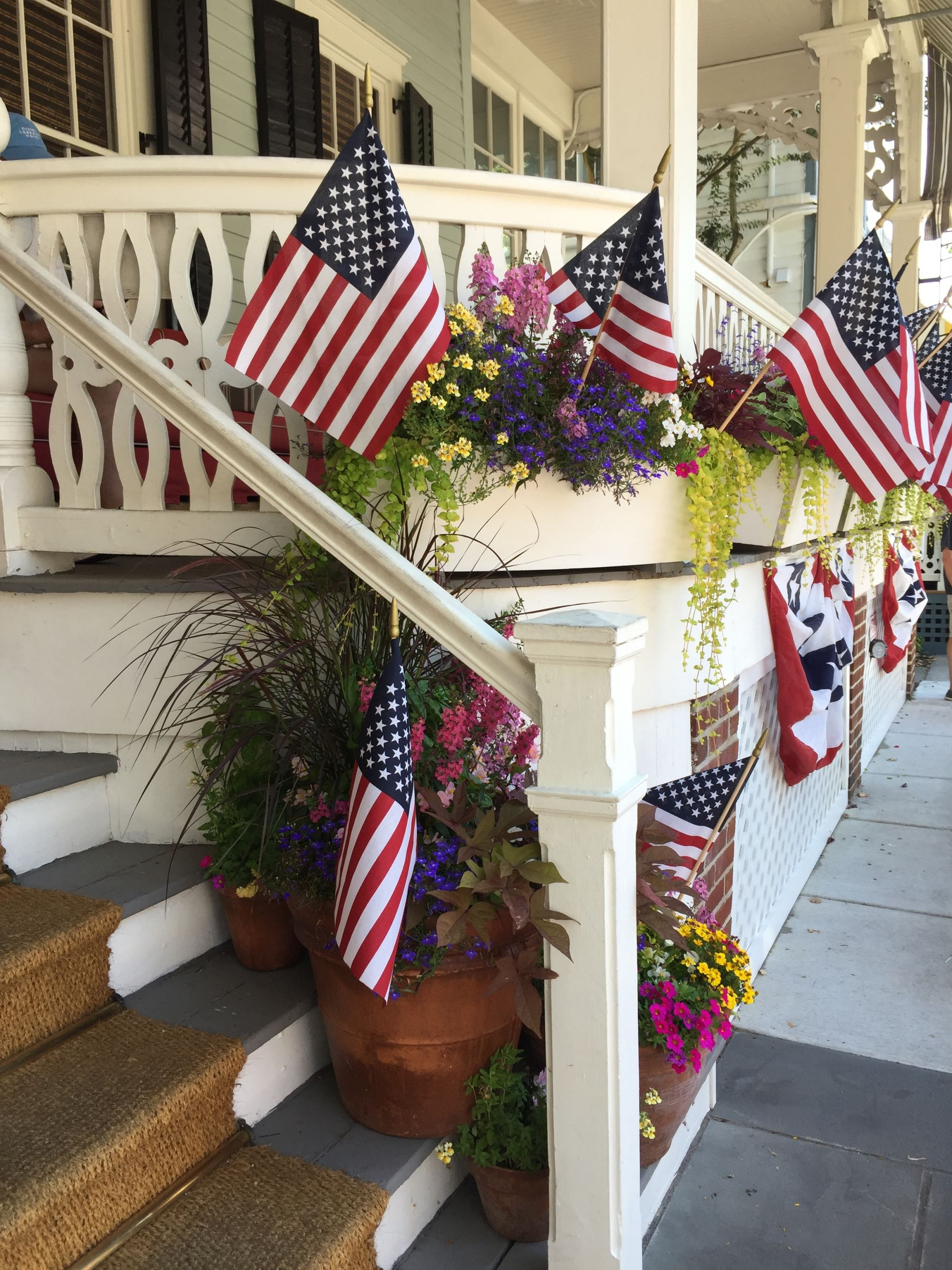 Flags all around for Independence Day in Cape May, NJ.
