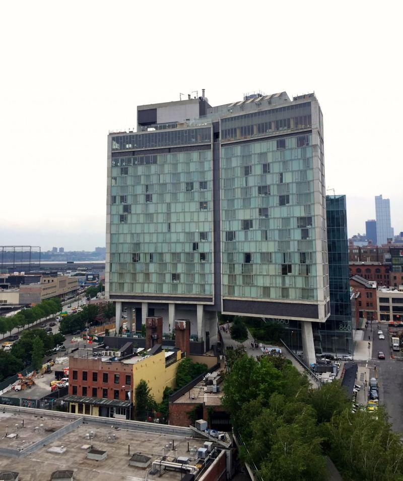 View of the Standard hotel in New York City in the summer.