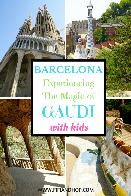 Gaudi with kids in Barcelona.