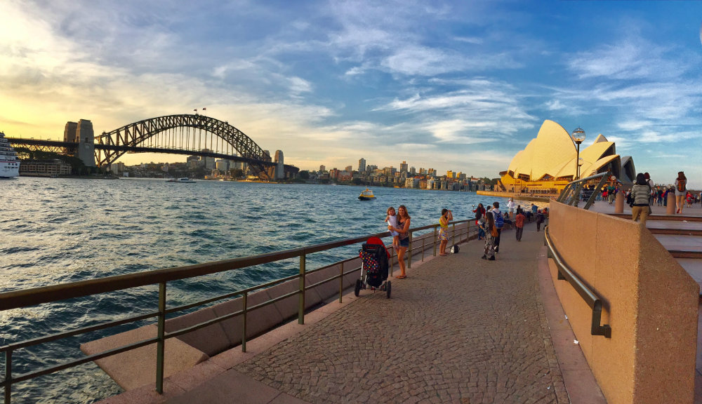 Hanging out in Sydney harbor in Australia on the motorhome trip.