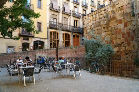 The squares of the Gothic Quarter in Barcelona.