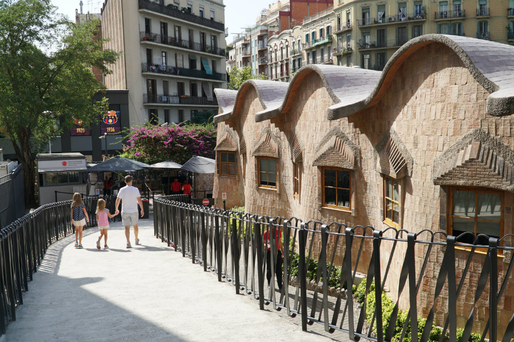 Walking from the Sagrada Familia by Gaudi in Barcelona.