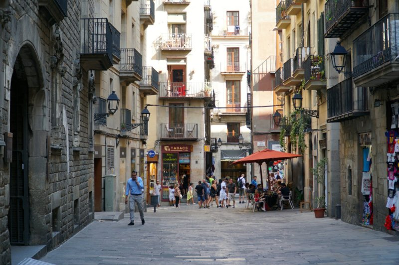 The streets of the Gothic Quarter in Barcelona.