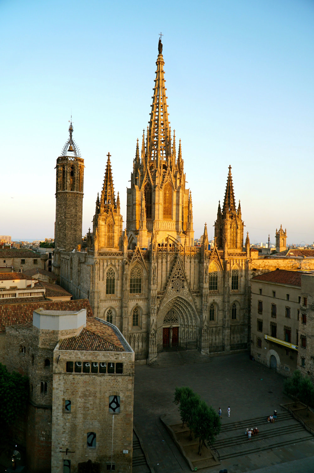 Sunset hour at the Barcelona Cathedral in the Gothic Quarter.