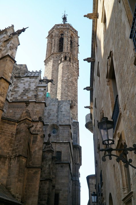 Looking up in the Gothic Quarter in Barcelona