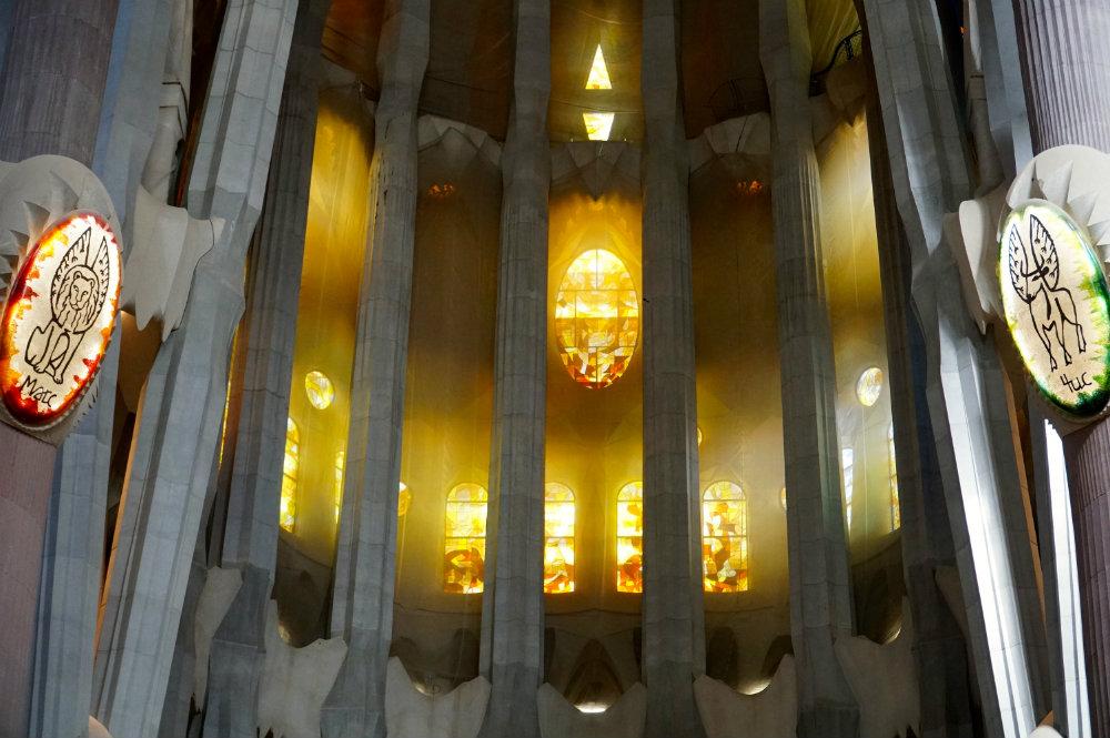 Admiring the beautiful Sagrada Familia by Gaudi in Barcelona.