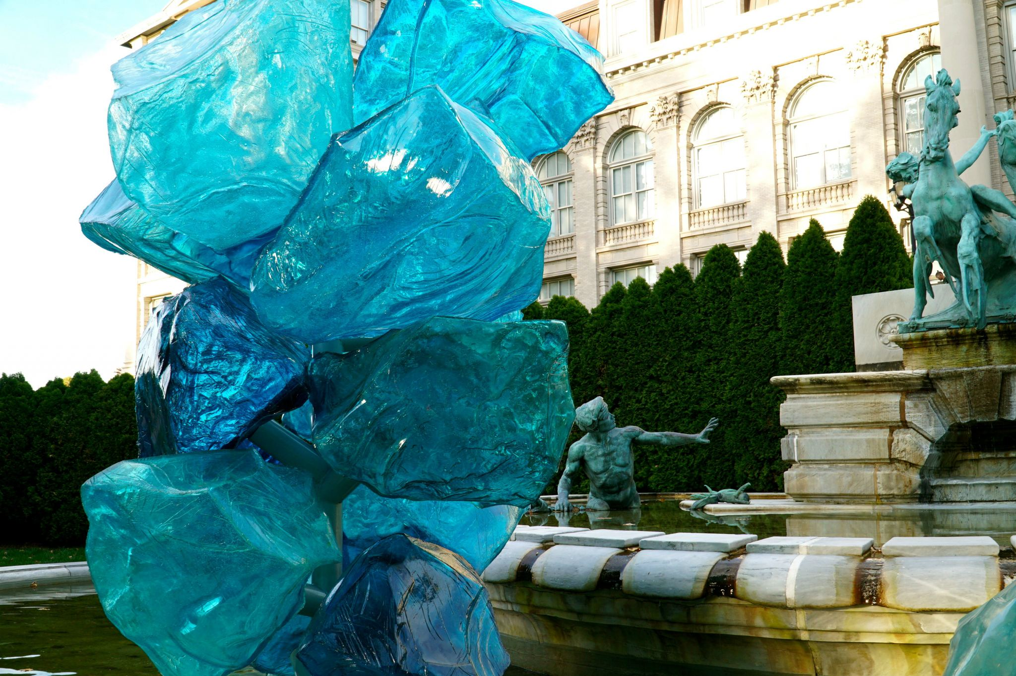 Admiring the beautiful blue crystals at the Chihuly exhibition at the New York Botanical Garden.