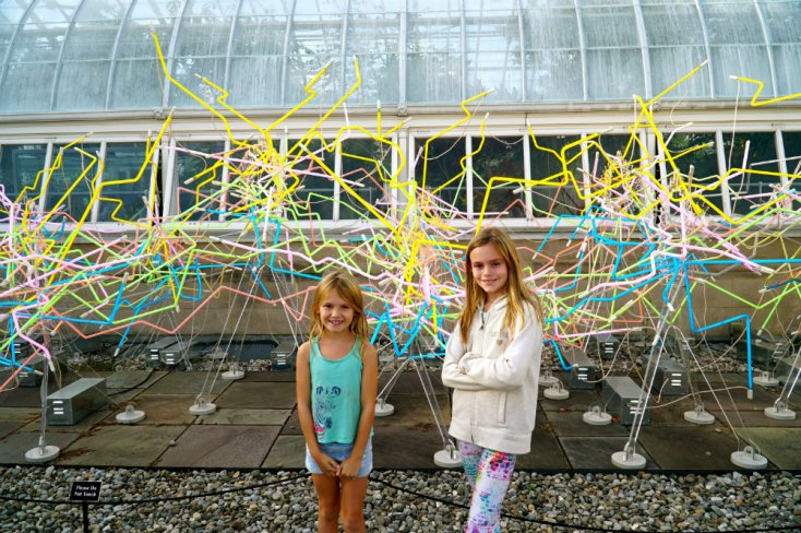 Having fun at the neon installation at the Chihuly exhibition at the New York Botanical Garden.