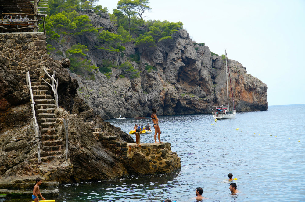 Swimming at Cala Deia in Mallorca.