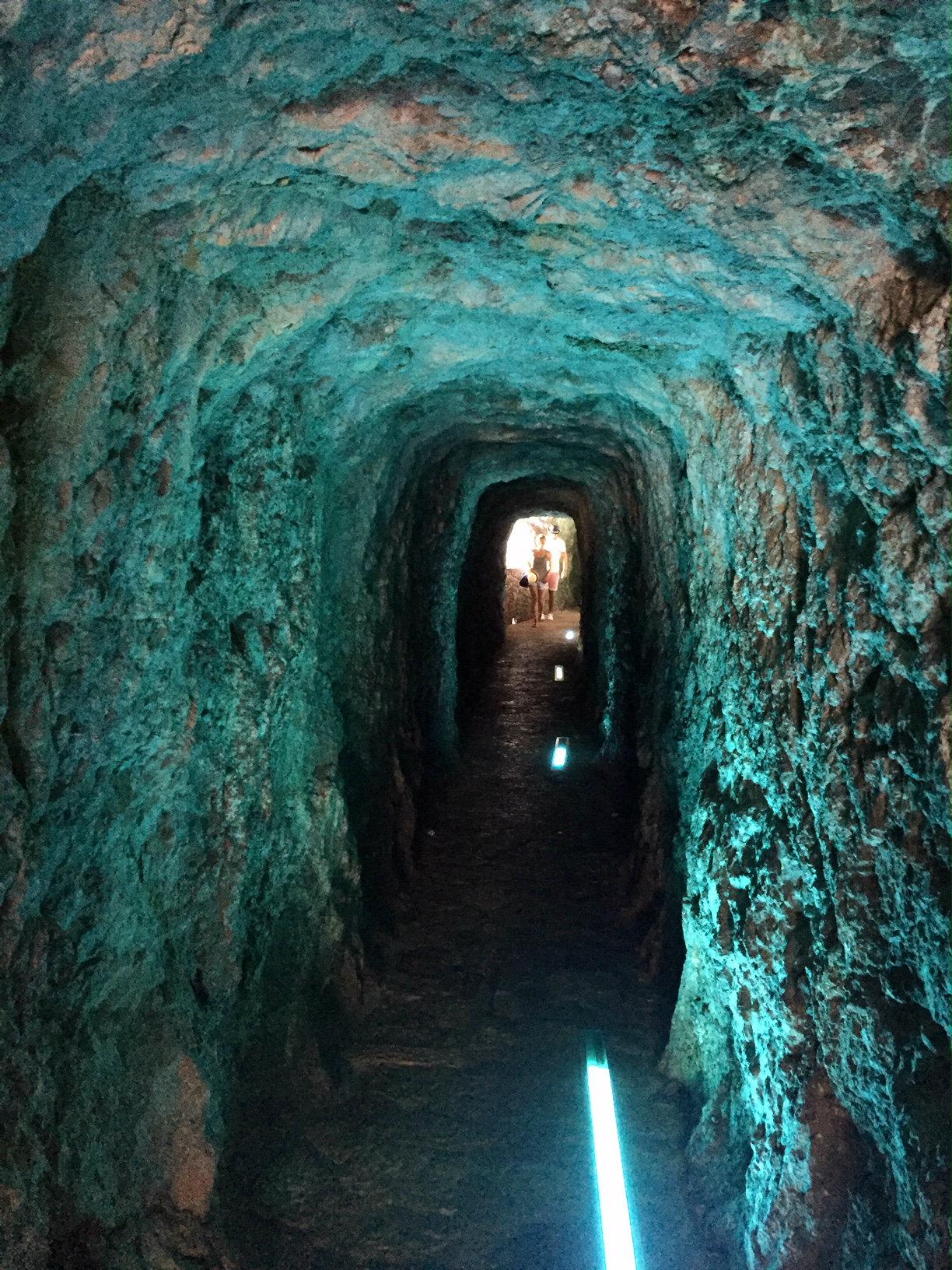 Tunnel to beach in Sa Calobra in Western Mallorca.