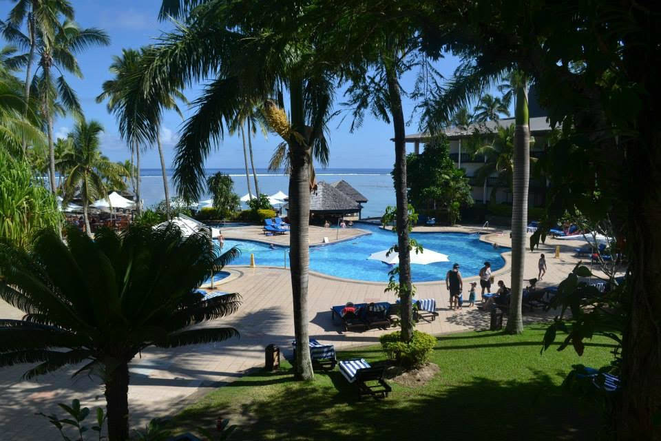 Hotel pool on family escape to Fiji