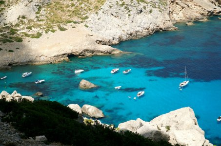 Aqua blue water in the cove of Cala Figuera on Mallorca