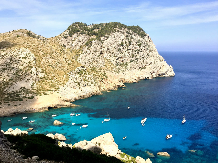 Bird's eye view of Cala Figuera on the road to Cap de Formentor