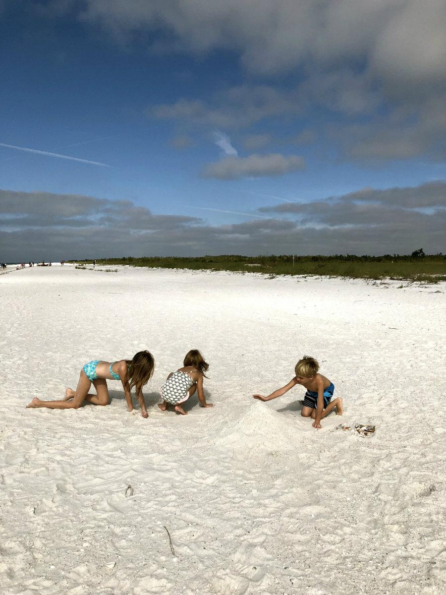Making sandcastles on Keewaydin Island in Florida.