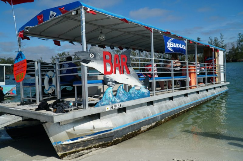 Full service bar boat on Keewaydin island in Florida