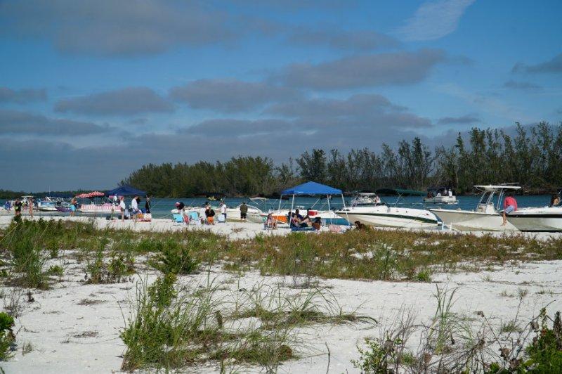 Boaters on Keewaydin Island in Florida.
