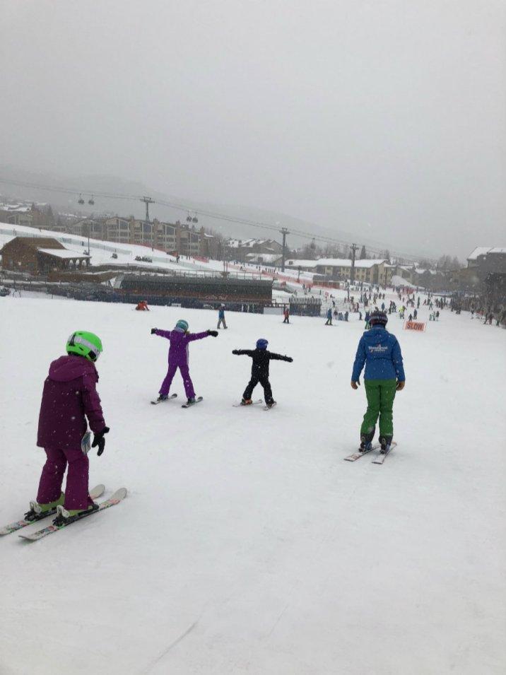 Ski lesson at Steamboat Springs ski resort