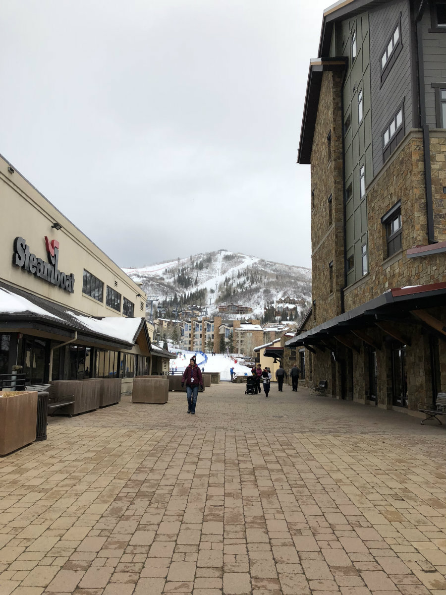 Walking around the mountain village of Steamboat Springs ski resort