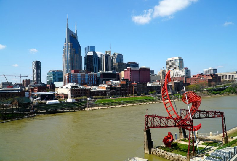 A view from the pedestrian bridge in Nashville, TN