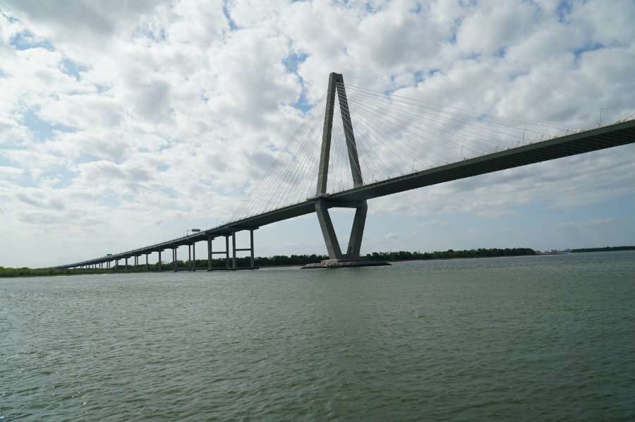 A boat ride under the Arthur Ravenel Jr. Bridge in our Charleston Getaway