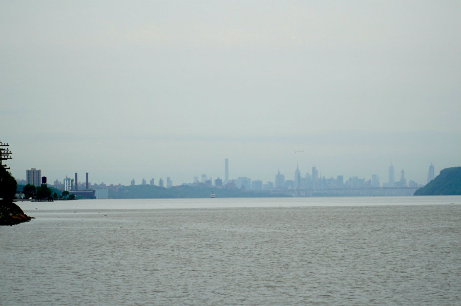 View of the Manhattan skyline from Scenic Hudson park in Irvington, NY