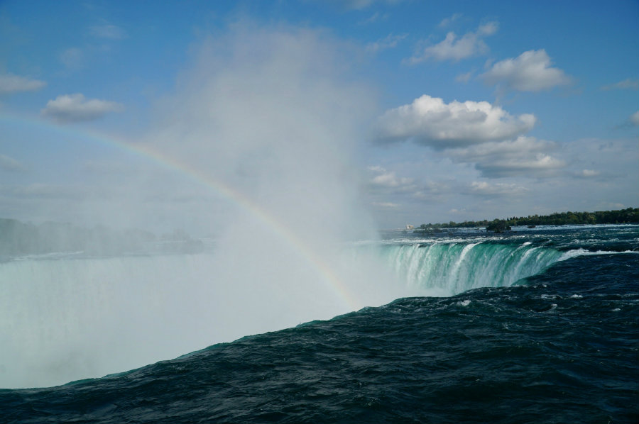 Rainbow over Horseshoe Falls at Niagara Falls