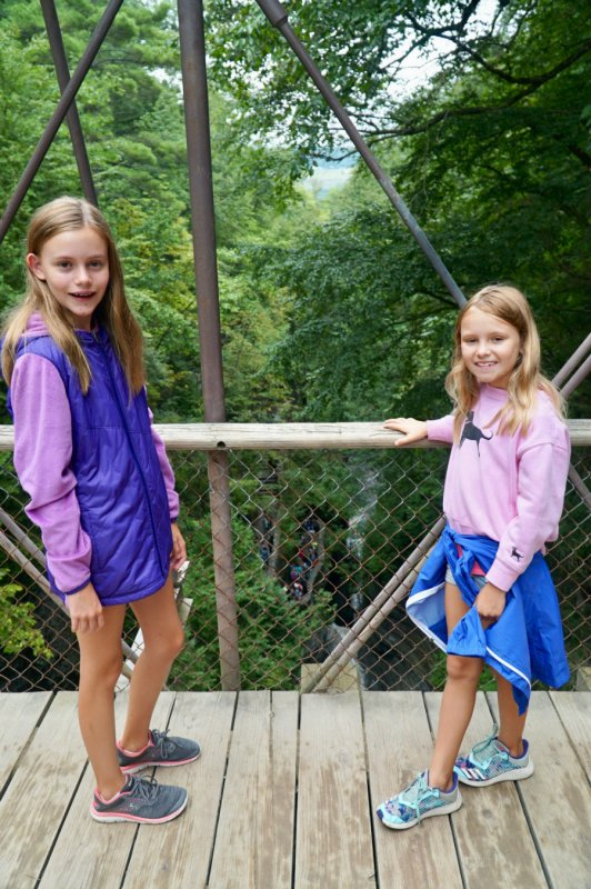 Girls on Suspension Bridge at Watkins Glen State Park