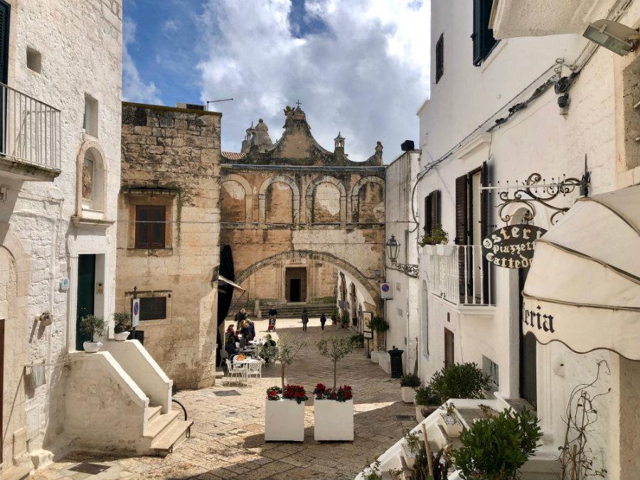 Ostuni piazza and Bishops Palace