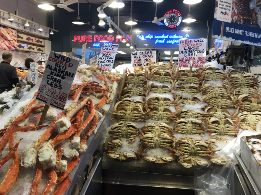 Looking at the crabs at Pike Place Market in Seattle