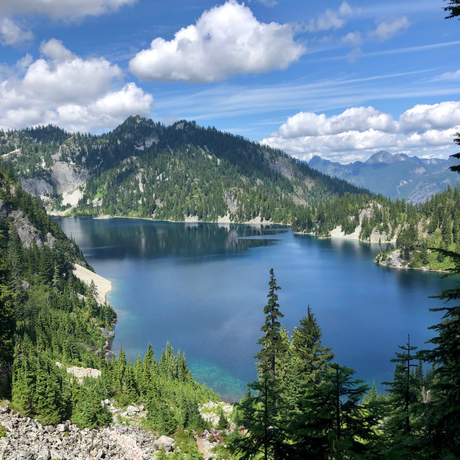 View of Snow Lake in the Snoqualmie Valley in Washington state