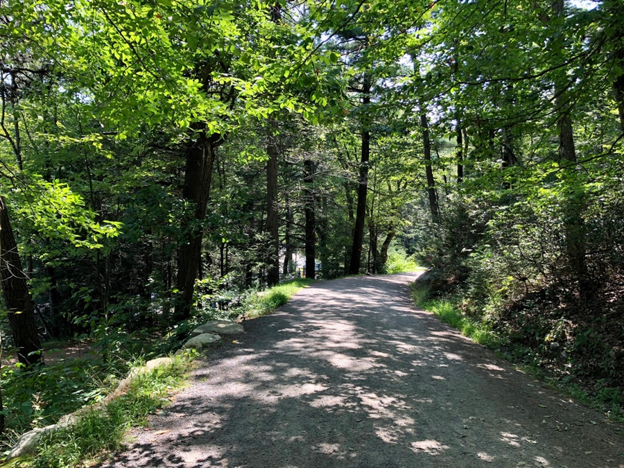 Walking on one of the carriage roads in Minnewaska State Park