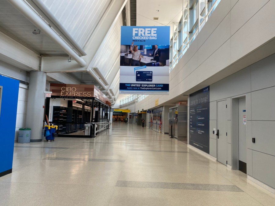 Empty Newark airport during corona virus
