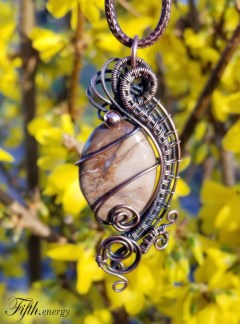 Fossilized Wood Pendant Necklace Petrified Necklace Fifth Energy Jewelry