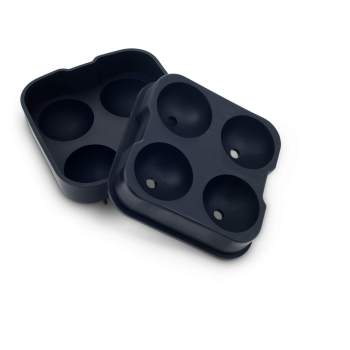 Ice Ball Mould - Large Silicone Spheres - 4 Section Black - Separated