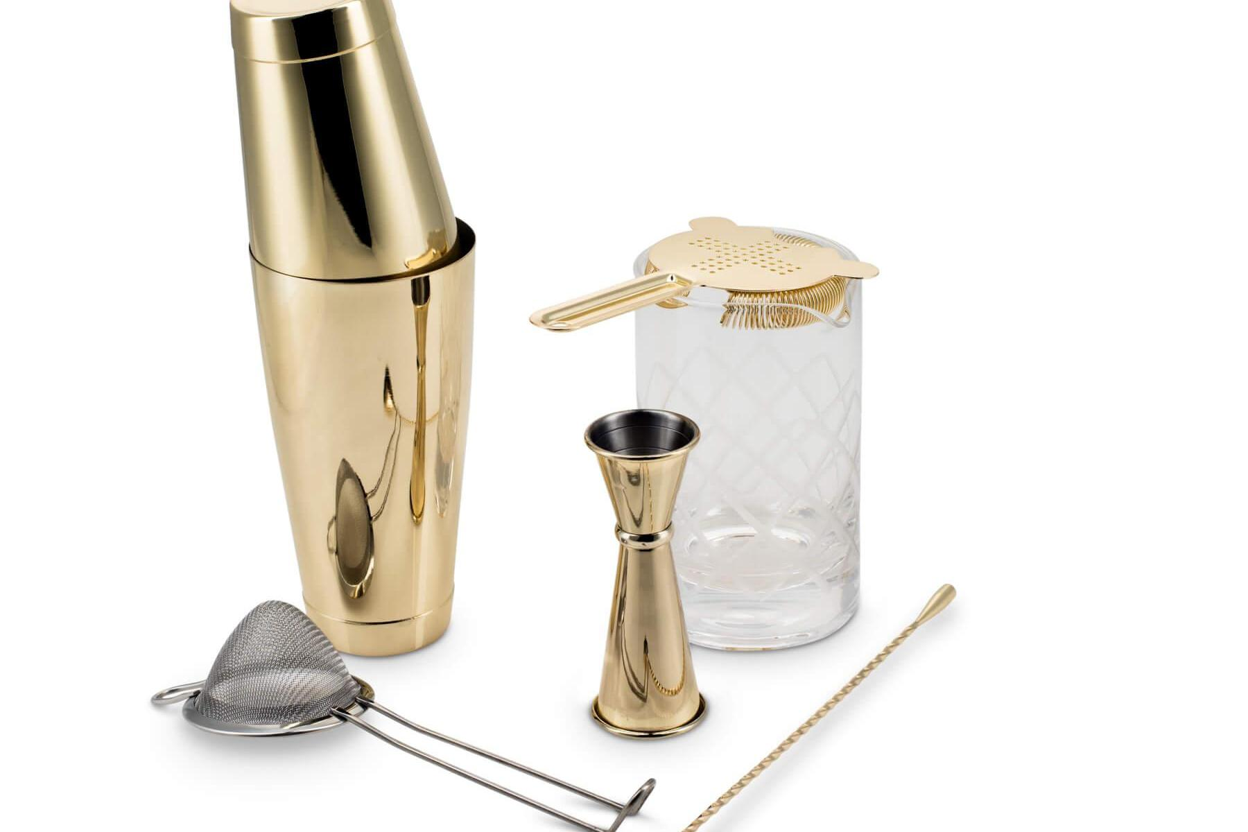 Gold Plated Shaken & Stirred Barware Set Fifth & Vermouth