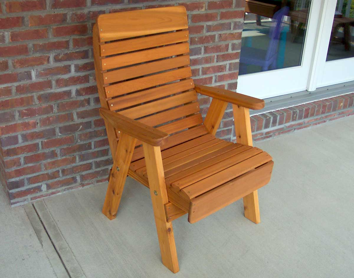 Red Patio Chairs Red Cedar Royal Highback Patio Chair